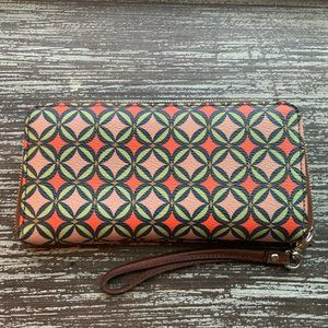 Fossil Sydney Brown/Red Signature Leather Wallet